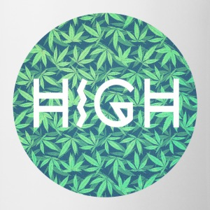 HIGH / cannabis Hipster Typo - Pattern Design  Camisetas - Taza