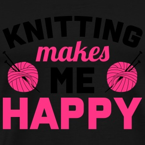 Knitting makes me happy Langærmede T-shirts - Herre premium T-shirt
