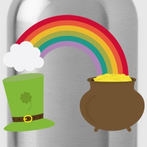 Rainbow gold and leprechaun Hat Tops - Water Bottle
