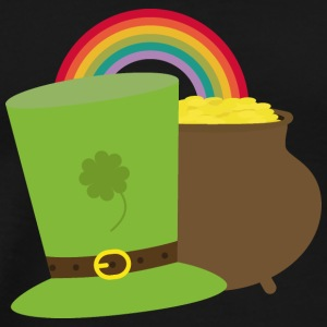 Rainbow gold and leprechaun Hat Tops - Men's Premium T-Shirt