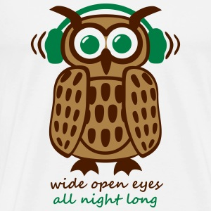Eule Kopfhörer Owl Headphones eyes all night long Tank Tops - Männer Premium T-Shirt