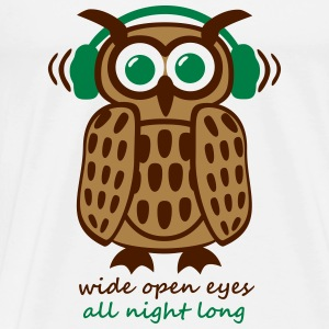 Eule Kopfhörer Owl Headphones eyes all night long Tops - Männer Premium T-Shirt