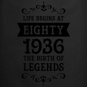 Life Begins At Eighty - 1936 The Birth Of Legends Camisetas - Delantal de cocina