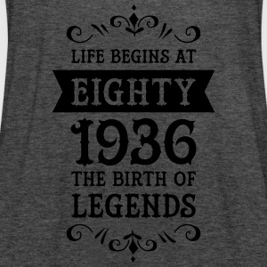 Life Begins At Eighty - 1936 The Birth Of Legends Tee shirts - Débardeur Femme marque Bella