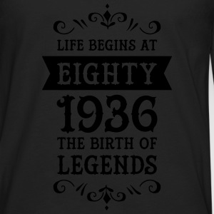 Life Begins At Eighty - 1936 The Birth Of Legends Camisetas - Camiseta de manga larga premium hombre