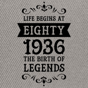 Life Begins At Eighty - 1936 The Birth Of Legends Camisetas - Gorra Snapback