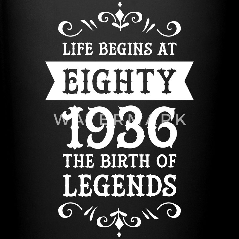 Life Begins At Eighty - 1936 The Birth Of Legends Mugs & Drinkware - Full Colour Mug
