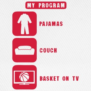basketball tv program pajamas couch quote 2602  Aprons - Baseball Cap