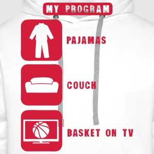 basketball tv program pajamas couch quote 2602  Aprons - Men's Premium Hoodie