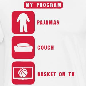 basketball tv program pajamas couch quote 2602  Aprons - Men's Premium T-Shirt