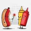 Hot Dog Love Ketchup  Aprons - Cooking Apron