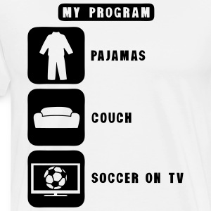 soccer tv program pajamas couch quote  Aprons - Men's Premium T-Shirt