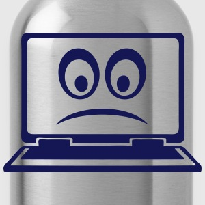 Laptop computer smiley sad Shirts - Water Bottle