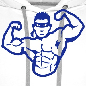 bodybuilder masque heros muscle 4 bodybu Tabliers - Sweat-shirt à capuche Premium pour hommes