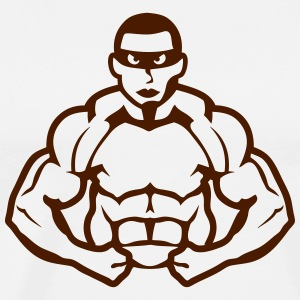 Bodybuilder mask heros muscle muscular  Aprons - Men's Premium T-Shirt