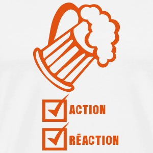Action reaction beer alcohol humor  Aprons - Men's Premium T-Shirt