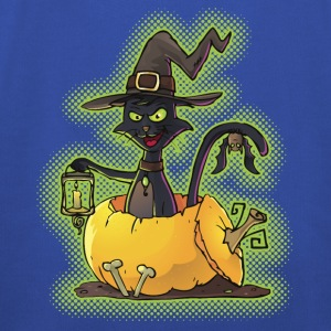 Halloween Black Witch Cat in Pumpkin Shirts - Kids' Premium Hoodie