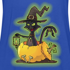 Halloween Black Witch Cat in Pumpkin Shirts - Women's Tank Top by Bella