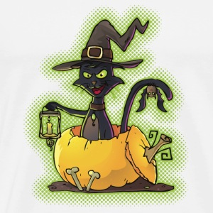 Halloween Black Witch Cat in Pumpkin Mugs & Drinkware - Men's Premium T-Shirt