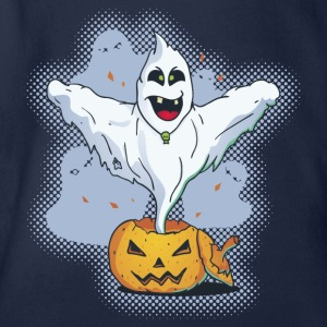 Scary Halloween Ghost with Pumpkin Shirts - Organic Short-sleeved Baby Bodysuit