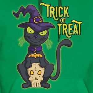 Halloween Black Witch Cat Trick or Treat Shirts - Men's Premium Hoodie