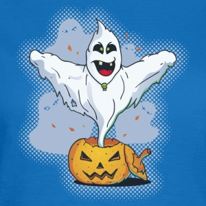 Scary Halloween Ghost with Pumpkin Mugs & Drinkware - Women's T-Shirt