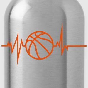 basketball trace curve heart word beat 8 Shirts - Water Bottle