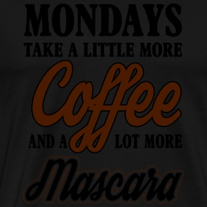 mondays take more coffe and mascara Manches longues - T-shirt Premium Homme