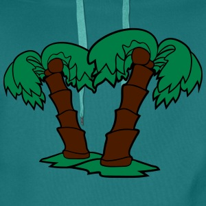 2 palm trees comic cartoon coconuts T-Shirts - Men's Premium Hoodie