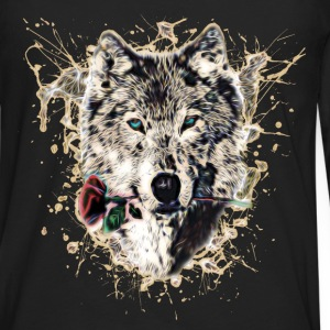 Wolf with Rose, Love Symbol, Ulv, Nature T-skjorter - Premium langermet T-skjorte for menn