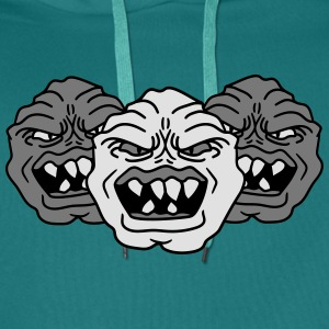 3 monster heads faces angry grimace horror hallowe T-Shirts - Men's Premium Hoodie