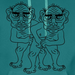 2 naked opas buddies couple love gay gay gay ugly  T-Shirts - Men's Premium Hoodie