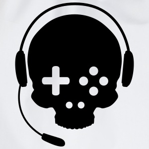 Game Controller Skull with Headset T-Shirts - Drawstring Bag