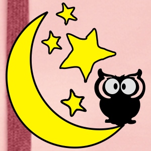 moon and stars and owl  Women's T-shirt with rol - Women's Premium Hoodie