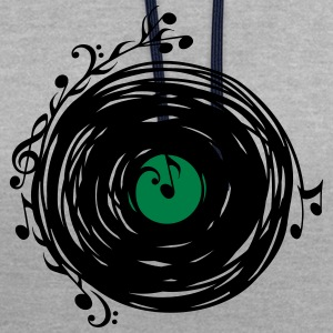 Vinyl record, music notes, bass, clef, key, party Magliette - Felpa con cappuccio bicromatica