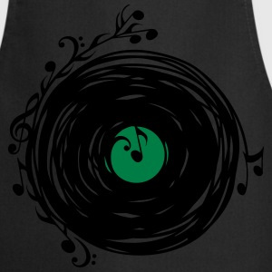Vinyl record, music notes, bass, clef, key, party  - Cooking Apron