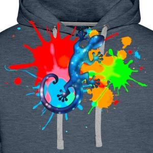 Space Gecko, Lizard, Color, Splash, Festival T-skjorter - Premium hettegenser for menn