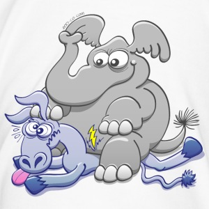 Elephant Sitting on Donkey and Squashing it  Mugs & Drinkware - Men's Premium T-Shirt