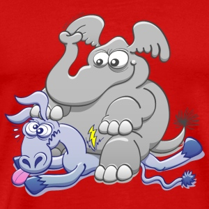 Elephant Sitting on Donkey and Squashing it  Tops - Men's Premium T-Shirt