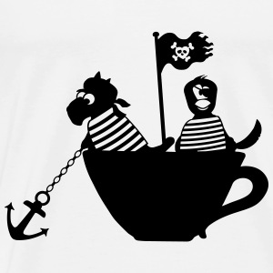 Piraten in Tasse Baby Bodys - Männer Premium T-Shirt