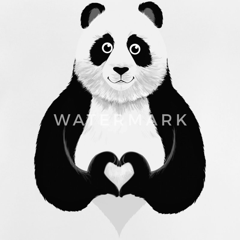 Cute Panda Heart Hand Sign Shirts - Baby T-Shirt