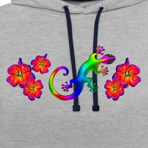 Gecko, hibiscus, aloha, summer, surfing, lizard T-Shirts - Contrast Colour Hoodie