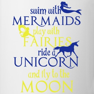 Mermaids, Fairies, Unicorn, Moon Långärmade T-shirts - Mugg
