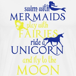 Mermaids, Fairies, Unicorn, Moon Shirts met lange mouwen - Mannen Premium T-shirt