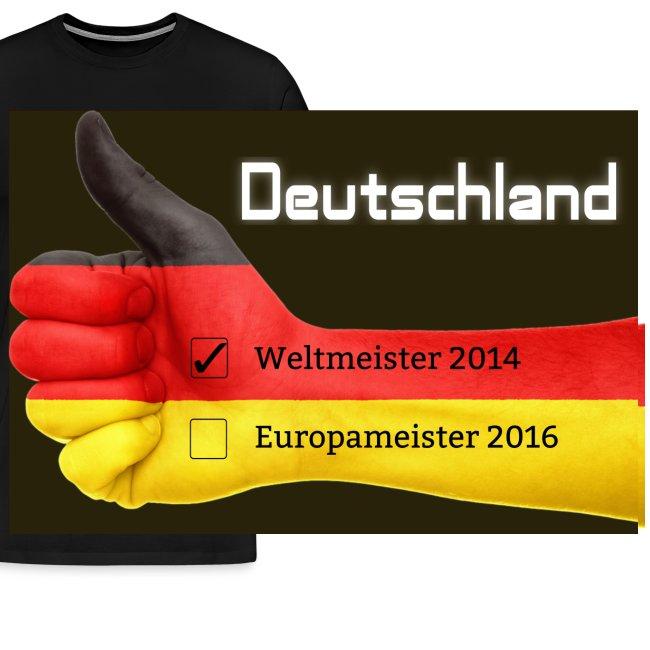 Männer Premium T-Shirt Daumen Deutschland Europameister 2016 Weiß