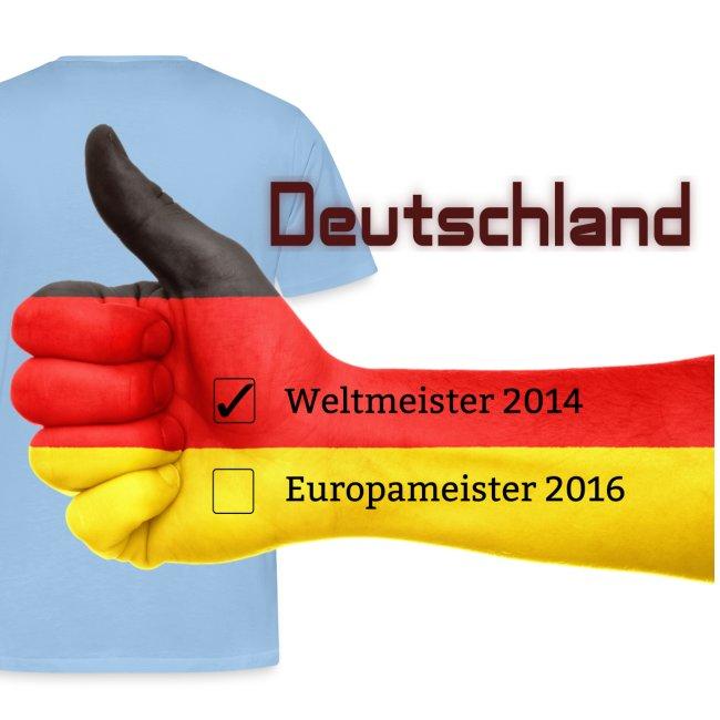 """Männer Premium T-Shirt """"Daumen hoch"""" Deutschland Europameister 2016 Weiß, hinten bedruckt"""