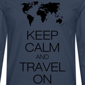keep calm and travel on T-shirts - Herre premium T-shirt med lange ærmer