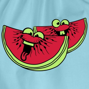 melon slices 2 pieces few watermelon eating delici T-Shirts - Drawstring Bag