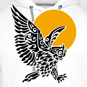 Great horned owl tribal tattoo - Men's Premium Hoodie