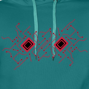 circuitry technology lines microchip disk pattern  T-Shirts - Men's Premium Hoodie